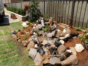 Pondless waterfall, back yard, Sydney